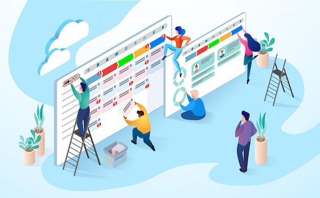 Ilustração, de, pessoas trabalhando, companhia negócio