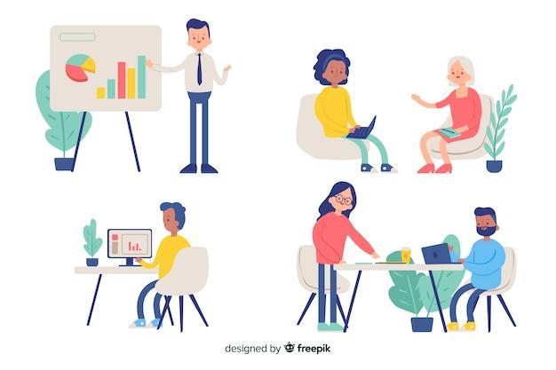 Ilustração, de, pessoas, trabalhando, em, escritório