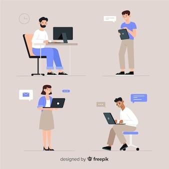 Ilustração, de, pessoas, trabalhando, escritório
