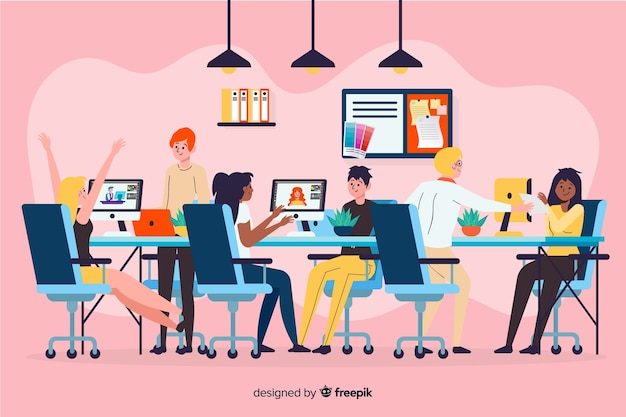 Ilustração, de, pessoas, trabalhando, junto