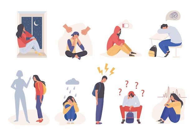 Ilustração de pessoas tristes cansadas e deprimidas