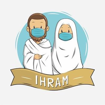 Ilustração de pessoas usando ihram durante o hajj