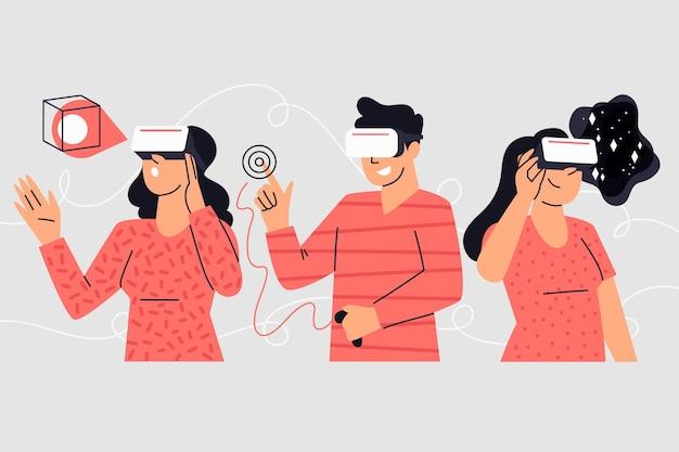 Ilustração de pessoas usando óculos vr