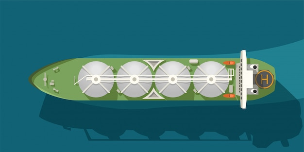 Ilustração de petroleiro com recipientes de gás na vista do mar de cima