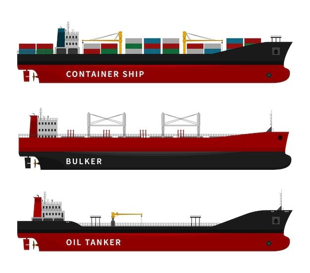 Ilustração de petroleiro, graneleiro e navio
