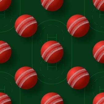 Ilustração de pettern sem costura bola de críquete