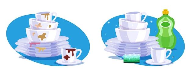 Ilustração de pilha de pratos sujos e limpos