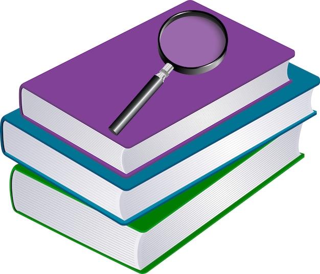 Ilustração, de, pilha livros, com, magnifier