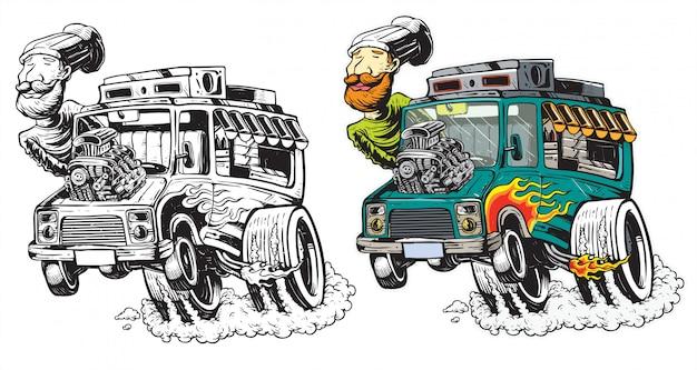 Ilustração de piloto de alta velocidade de caminhão de comida
