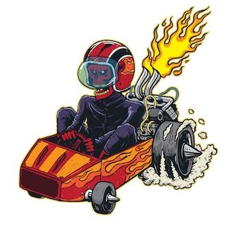Ilustração de piloto de kart de crânio em alta velocidade