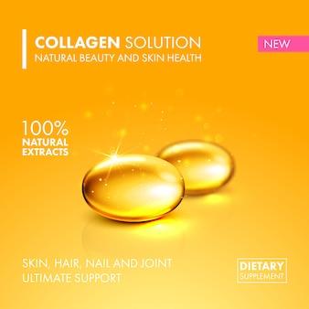 Ilustração de pílula de cápsula de colágeno de óleo de ouro.