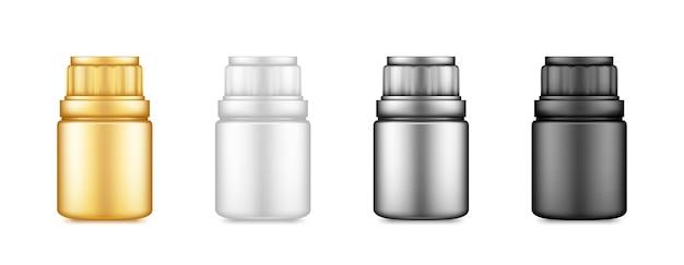 Ilustração de pílulas ou frasco de suplemento de embalagem de plástico