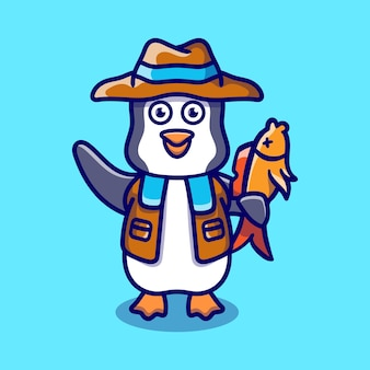 Ilustração de pinguim fofinho pegando peixes