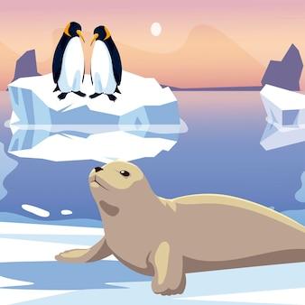 Ilustração de pinguins e foca no mar de iceberg derretido