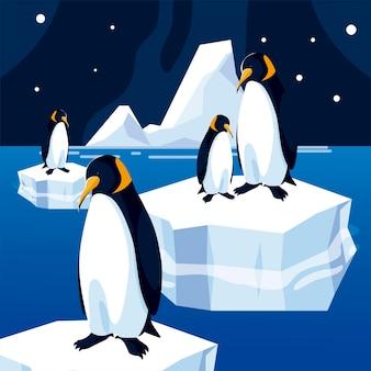 Ilustração de pinguins em iceberg flutuando no mar à noite