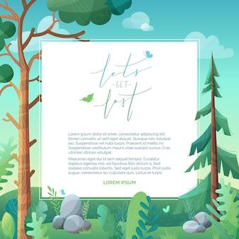 Ilustração de pinheiros e abetos em colinas verdes