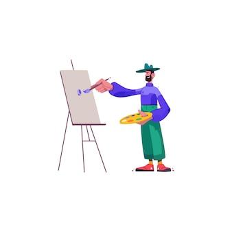 Ilustração de pintura de artista engraçada