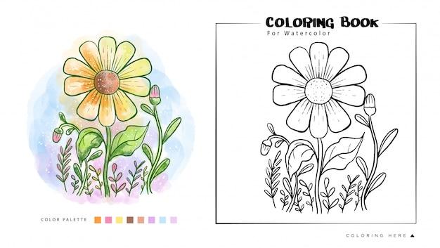 Ilustração de pintura em aquarela de flor do sol