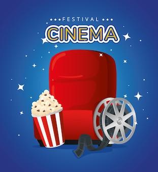Ilustração de pipoca e bobina de cadeira de cinema