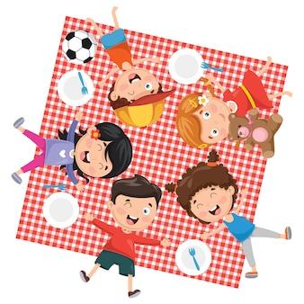 Ilustração de piquenique infantil