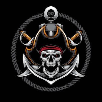 Ilustração de pirata com caveira gritando