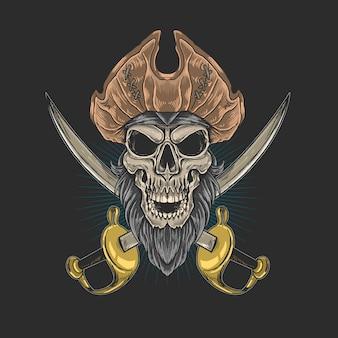 Ilustração de pirata de barba de caveira