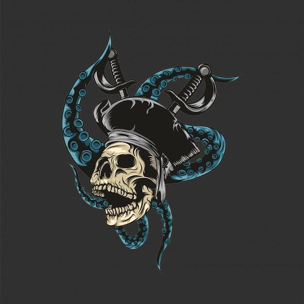 Ilustração de pirata de caveira premium