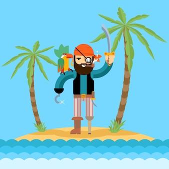 Ilustração de pirata na ilha do tesouro