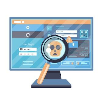 Ilustração de pirataria de vírus e malware