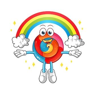 Ilustração de pirulito com mascote de arco-íris