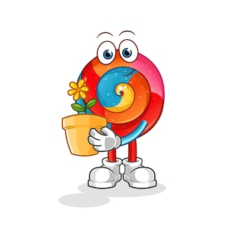 Ilustração de pirulito com vaso de flores