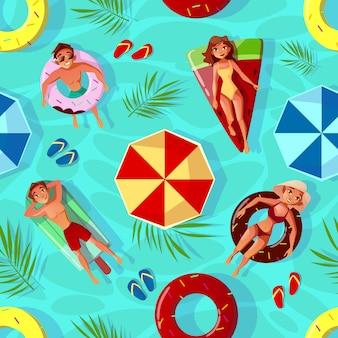 Ilustração de piscina verão de fundo sem emenda com pessoas na piscina anéis i