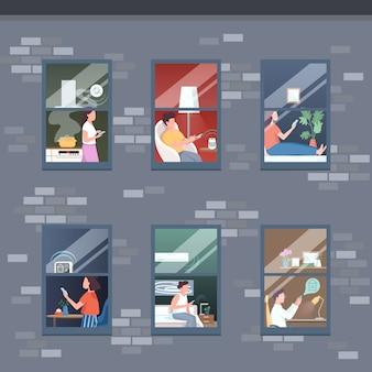 Ilustração de pisos de apartamento inteligente