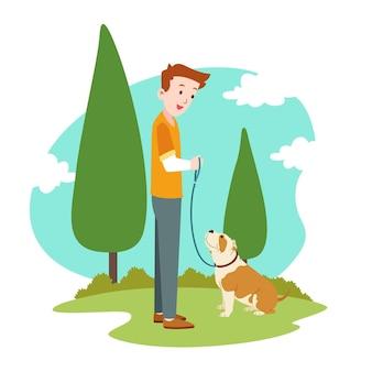 Ilustração de pitbull adorável plana