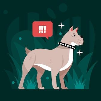 Ilustração de pitbull de design plano