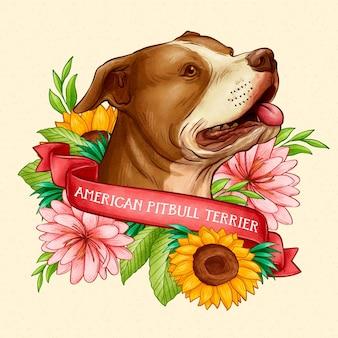 Ilustração de pitbull desenhada à mão