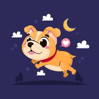 Ilustração de pitbull fofinho de desenho animado