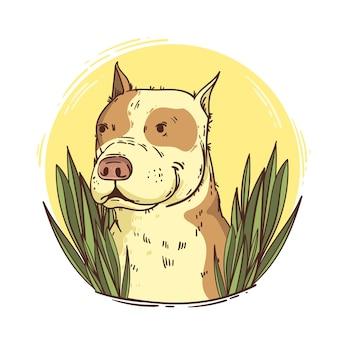 Ilustração de pitbull fofinho desenhada à mão