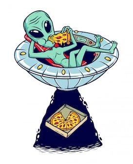 Ilustração de pizza de alienígenas