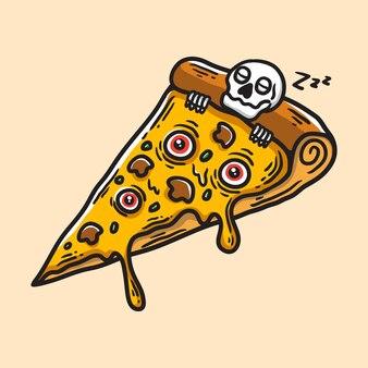 Ilustração de pizza de terror com esqueleto adormecido e crânio coberto de queijo