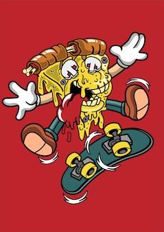 Ilustração de pizza skater desenhada à mão