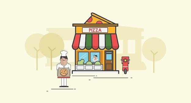Ilustração, de, pizza, vetorial, jogo