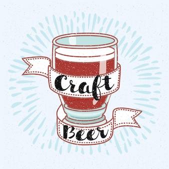 Ilustração de placa de cerveja artesanal