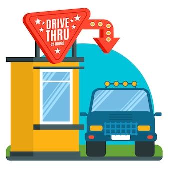 Ilustração de placa de drive thru de design plano