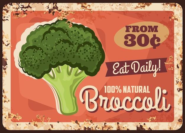 Ilustração de placa de metal de brócolis