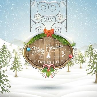 Ilustração de placa de natal decorada.