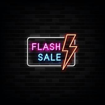 Ilustração de placa de néon de venda de flash