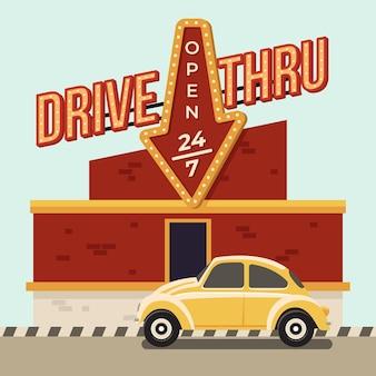 Ilustração de placa vintage drive thru
