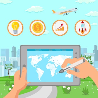 Ilustração de planejamento de expansão de negócios globais