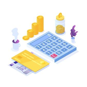 Ilustração de planejamento de orçamento com elementos financeiros